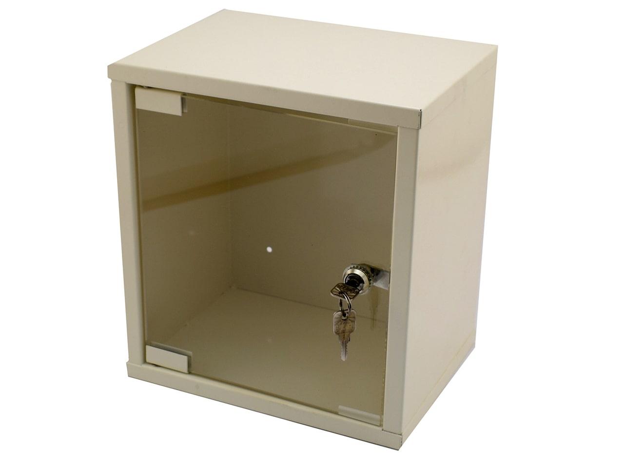 Металлическая аптечка со стеклянной дверцей и креплением на стену