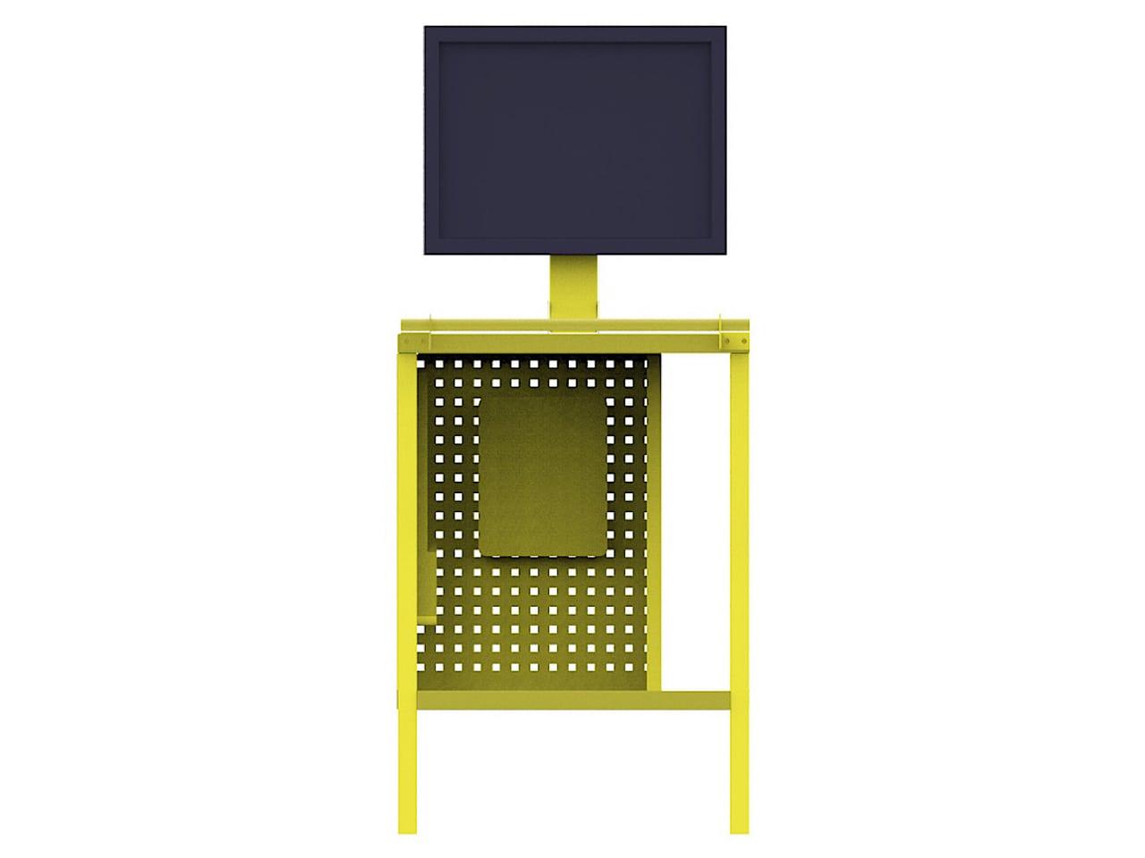 Металлический стол-тележка с креплением для монитора